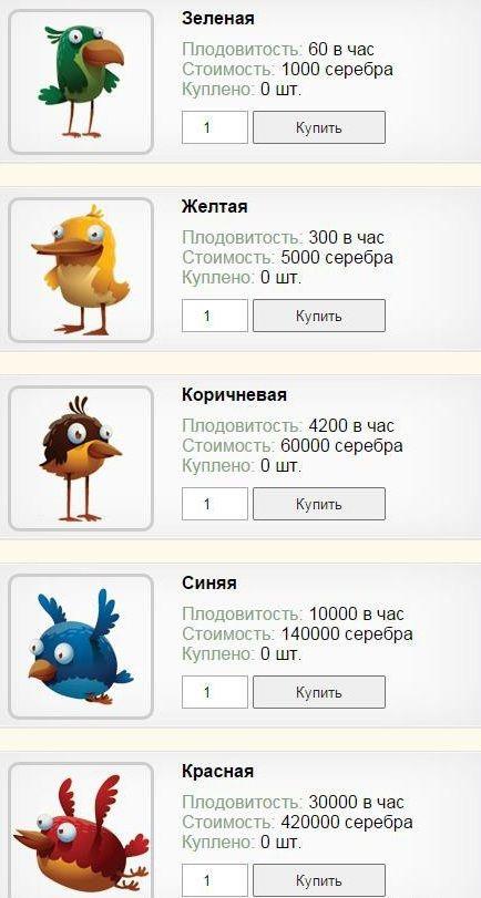 Список игровых персонажей.